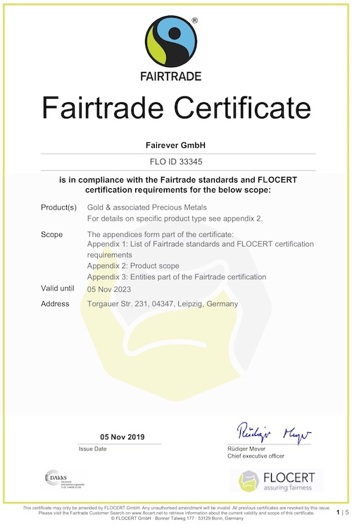 Fairtrade Certificate of Fairever GmbH