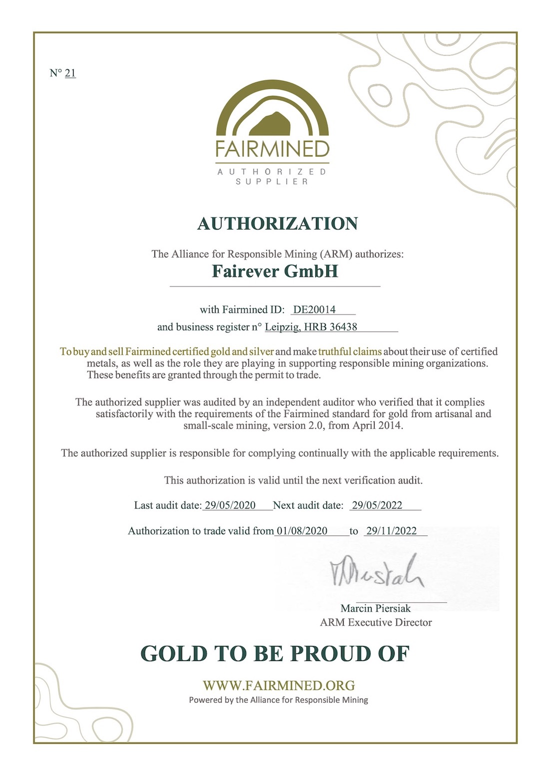 Fairever's Fairmined Authorization Certificate